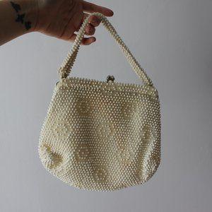 Vintage Small Beaded Beige/Cream Bag